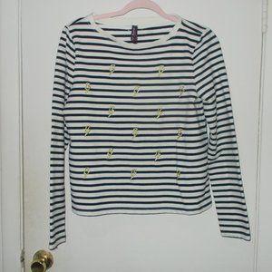 Betsey Johnson Striped Sweatshirt Size Medium